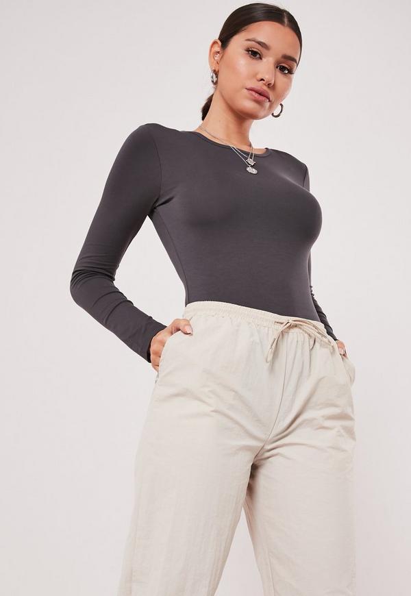 Grey Jersey Long Sleeved Bodysuit
