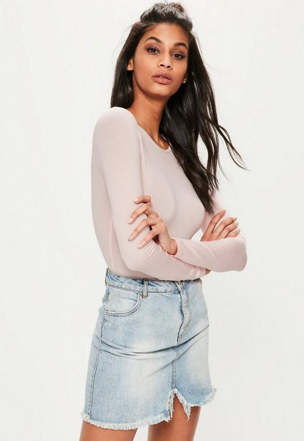 Pink Jersey Long Sleeved Bodysuit