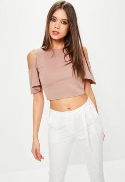 Pink Flared Cold Shoulder Crop Top