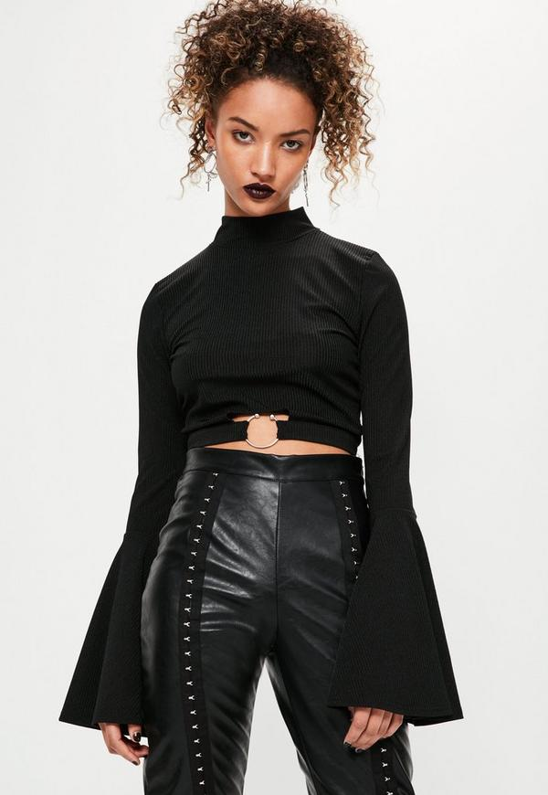 Black Ring Detail Flare Sleeve Crop Top