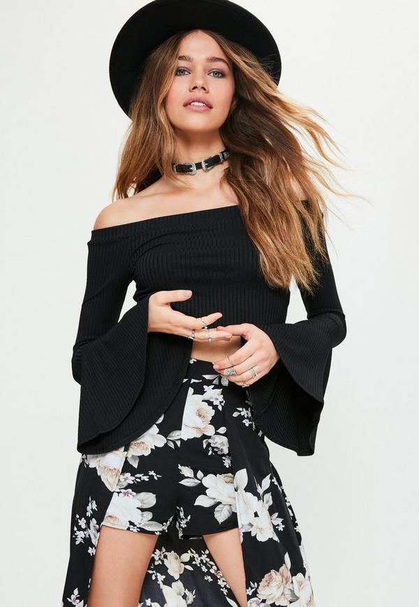 Black Ribbed Flare Sleeve Bardot Crop Top