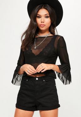 Black Mesh Frill Sleeve Crop Top