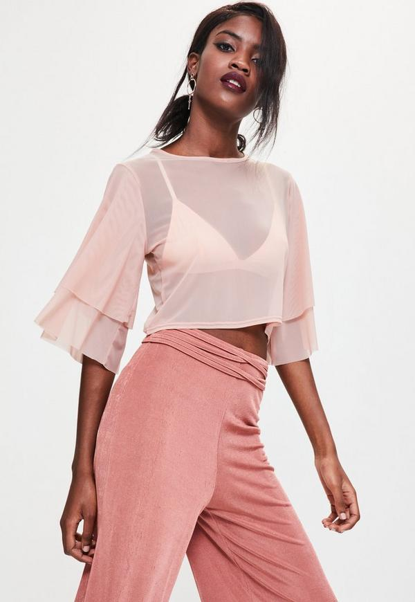 Nude Mesh Double Frill Sleeve Crop Top