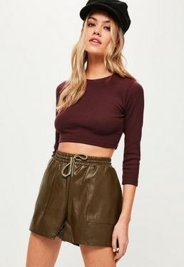 Burgundy Crew Neck Ribbed Crop Top