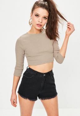Grey Crew Neck Ribbed Crop Top