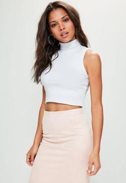 White Sleeveless Roll Neck Ribbed Crop Top