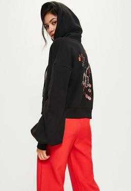 Black Embroidered Back Blouson Sleeve Hoodie