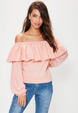 Pink Frill Bardot Sweatshirt