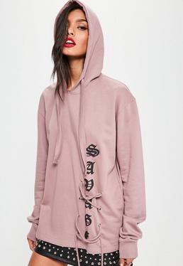 Pink Lace Up Front Slogan Hoodie