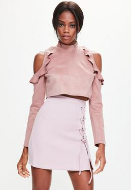 Pink Cold Shoulder Frill Detail Faux Suede Top