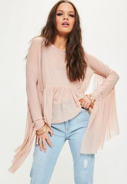Pink Mesh Waterfall Frill Sleeve Top