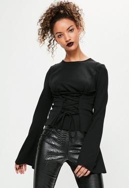 Black Corset Detail Flared Sleeve Top