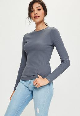 Blue Crew Neck Ribbed Top