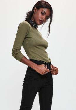 Khaki Crew Neck Ribbed Top