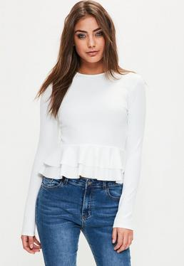 Peplum Top in Weiß