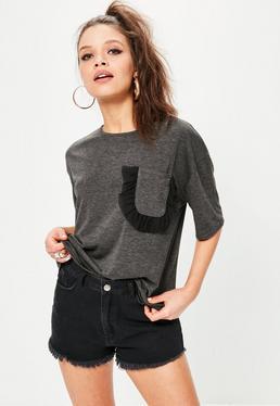 Grey Frill Mesh Pocket Detail T-Shirt