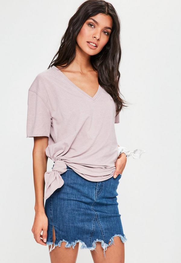 Purple V Neck Knotted T-Shirt
