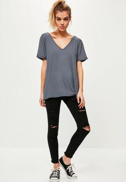 Grey Boyfriend V Neck T-Shirt