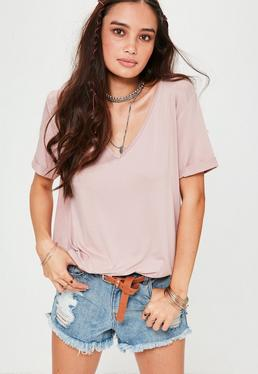 Pink Boyfriend V Neck T-Shirt