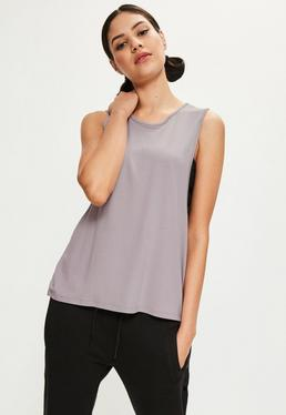 Purple High Neck Drop Armhole Vest