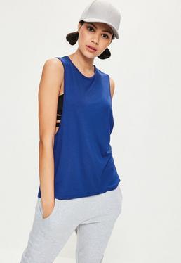 Blue High Neck Drop Armhole Vest
