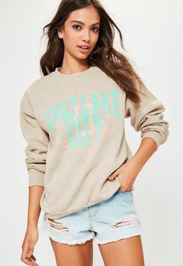 Beige Salt Lake City Slogan Sweatshirt