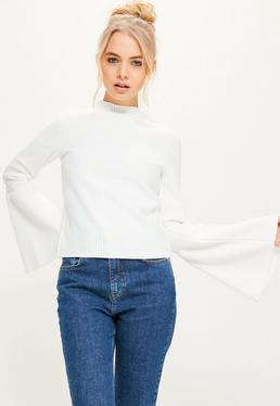 White High Neck Ribbed Flared Sleeve Top