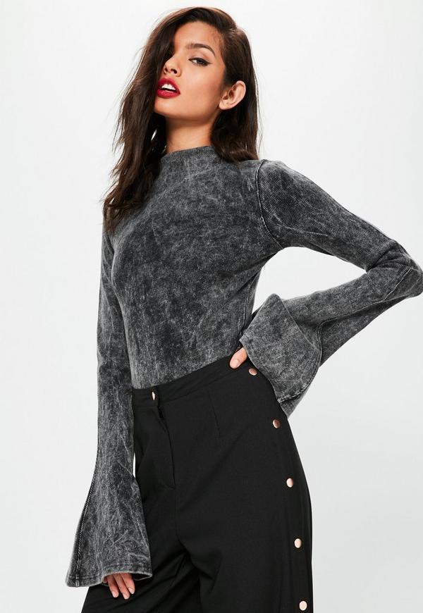 Grey Washed Ribbed Flared Sleeve Bodysuit