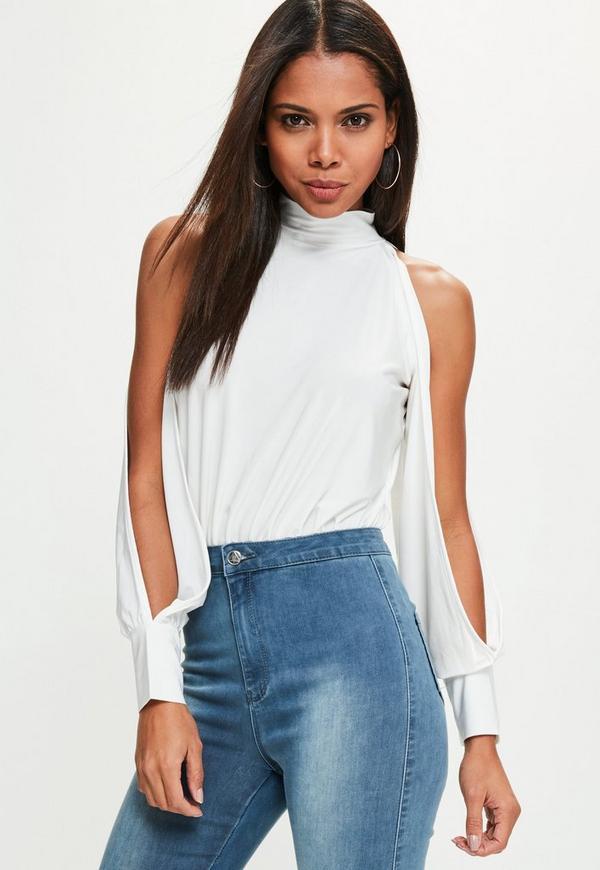 White Open Sleeve High Neck Bodysuit