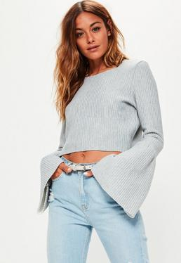 Grey Cropped Ribbed High Neck Top