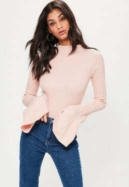 Pink Washed Flared Sleeve Ribbed Bodysuit