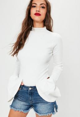 White Washed Ribbed Flared Sleeve Bodysuit