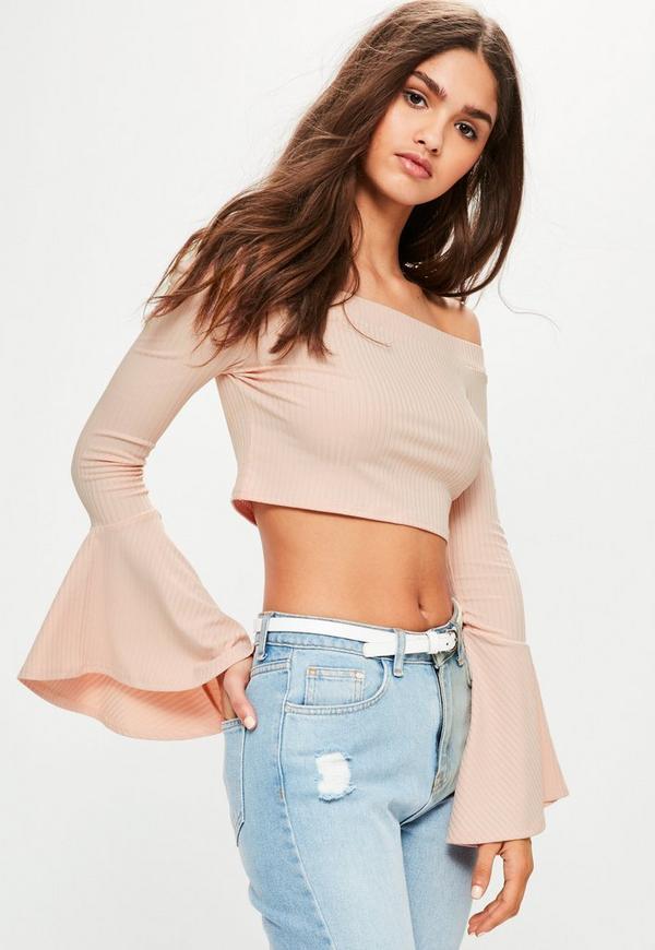Pink Ribbed Flare Sleeve Bardot Crop Top