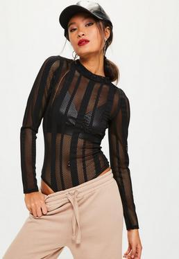 Black Fishnet Mesh Bodysuit
