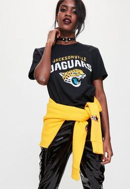 Czarny T-shirt z nadrukiem Jacksonville Jaguars