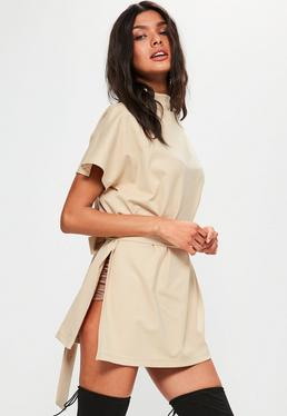 Nude Tie Waist Side Split Tunic