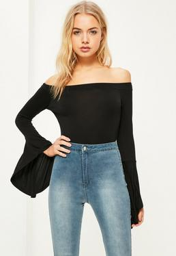 Black Bardot Waterfall Sleeve Bodysuit