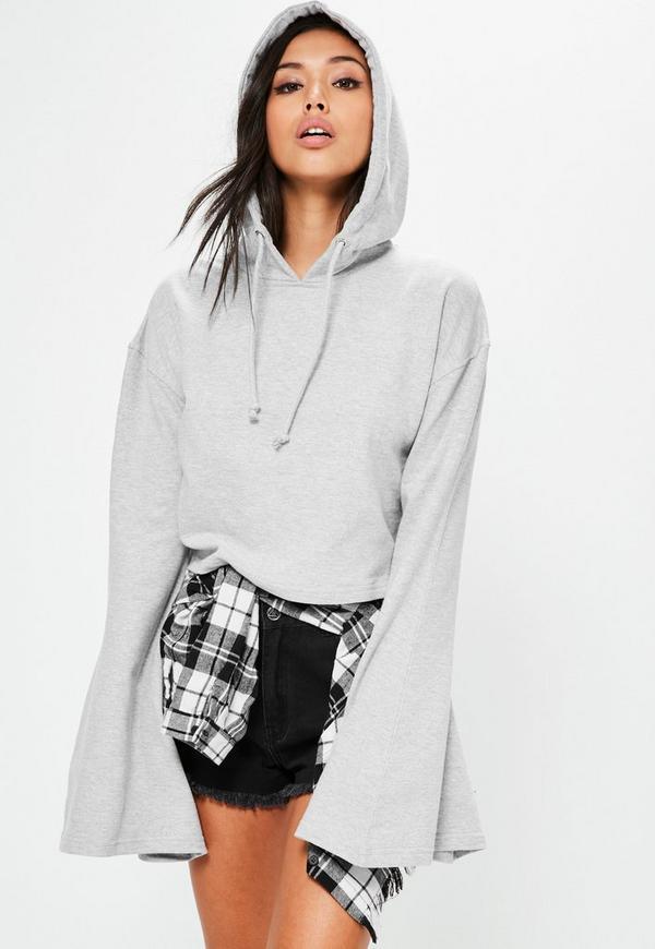 Grey Cropped Flared Sleeve Hoodie
