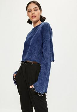 Blue Ring Detail Hem Washed Sweatshirt
