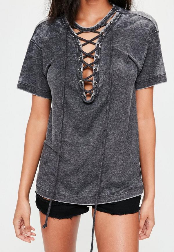 grey lace up t shirt missguided