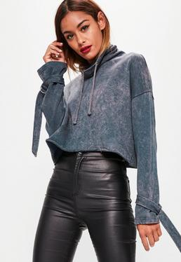 Blue Funnel Neck Acid Wash Strap Cuff Sweatshirt