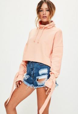 Pink Washed Funnel Neck Strap Cuff Sweatshirt