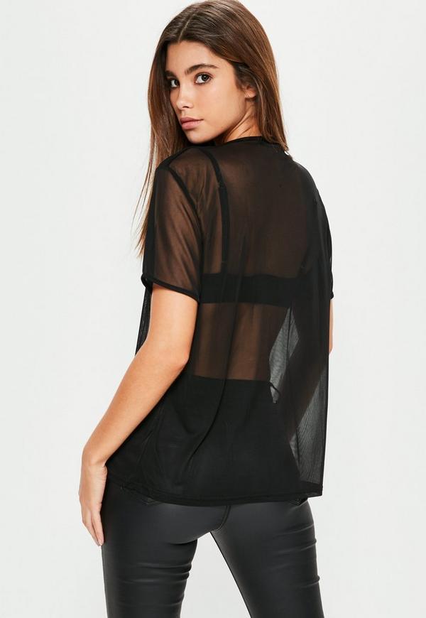 Black Mesh T-Shirt | Missguided