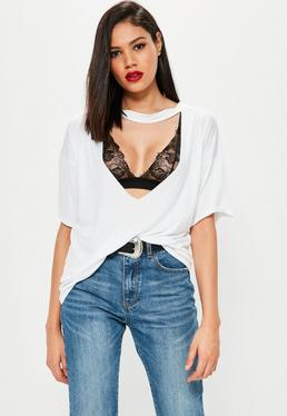 White Choker Neck Cut Out T-Shirt