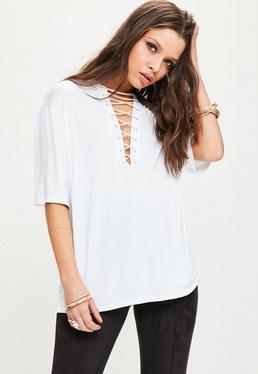 T-shirt blanc à lacets