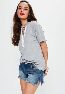 Grey Lace Up T-Shirt