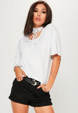 White Lace Up Choker Neck T-Shirt