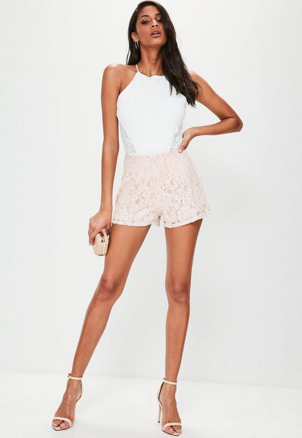 White Lace Insert Bodysuit | Missguided