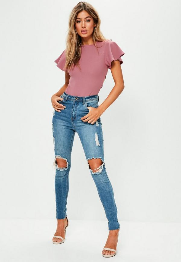 Pink Flared Sleeve Lace Up Back Bodysuit