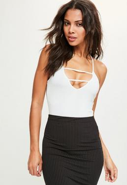 White Criss Cross Back Bodysuit